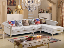 new design simple fabric wooden frame copper nail classical sofa 6608