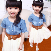 Korean style kids clothes western style fashion beautiful bowknot new design cute baby girls jeans dress