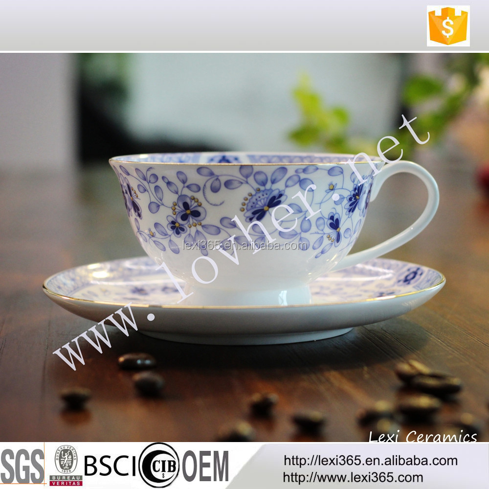 Hot selling new bone porcelain elegant coffee tea Cup & saucer or 6 sets for gifts with color box
