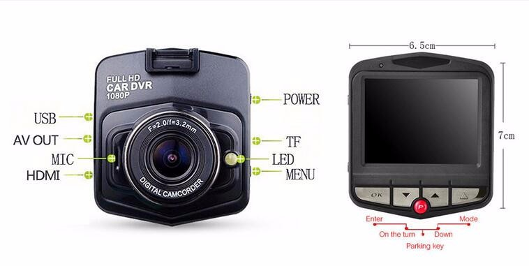 Most Popular Mini Car DVR Camera GT300 Dash Cam 2.4'' fhd 1080p Parking Recorder G-sensor Night Vision dash camera