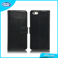 China Hot Sale Black PU Leather Wallet Cell Phone Covers Case for iphone 6