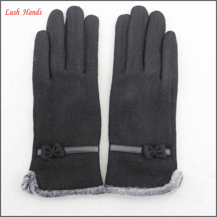 ladies wholesale fashion black micro velvet hand gloves with fur ending