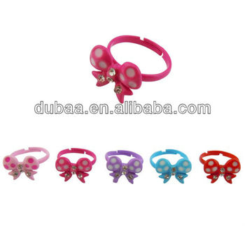 Fashion Jewelry Wholesale Plastic Adjustable Butterfly Ring with Rhinestone for Children in Yiwu