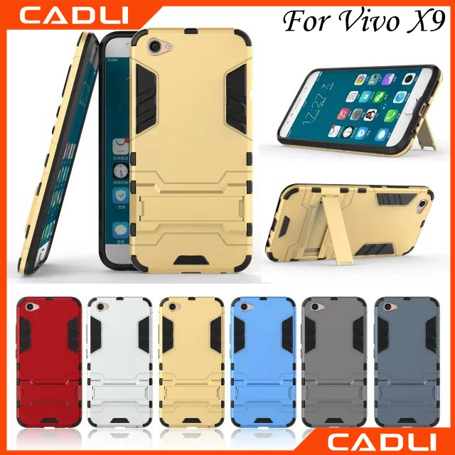 Wholesale Cell Phone Back Cover Case For Vivo X9 With Stand Holder TPU PC