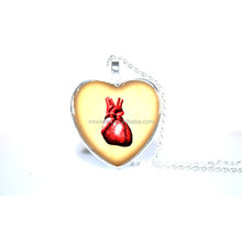 Anatomical Heart Pendant, Anatomical Heart Necklace, Steampunk heart Necklace Glass Photo Cabochon Necklace