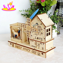 Novelty carved wooden puzzle music box with pen holder,High quality wooden music box for decoration W02A030