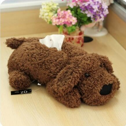 Dog shape stuffed tissue box cover plush animal tissue box car tissue box cover