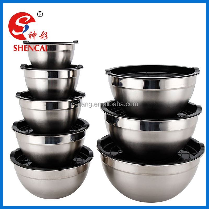 9pcs Deep Stainless steel salad bowl / Mixing bowl set with PP lid