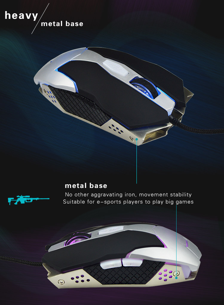 6D three speed control gaming mouse_3500DPI customized functions metal gaming mouse