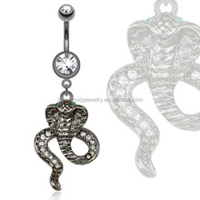 Hematite Cobra with Green CZ Eyes Belly Ring piercing body jewelry