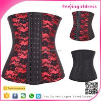 Plus Size Red Hook Eyes Lace 7 Steel Boned Cheap Waist Training Corset
