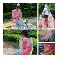 Fieldwork travel waterproof disposable plastic rain poncho with sleeve