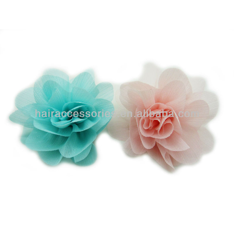 candy-colored green and pink chiffon flower for hair