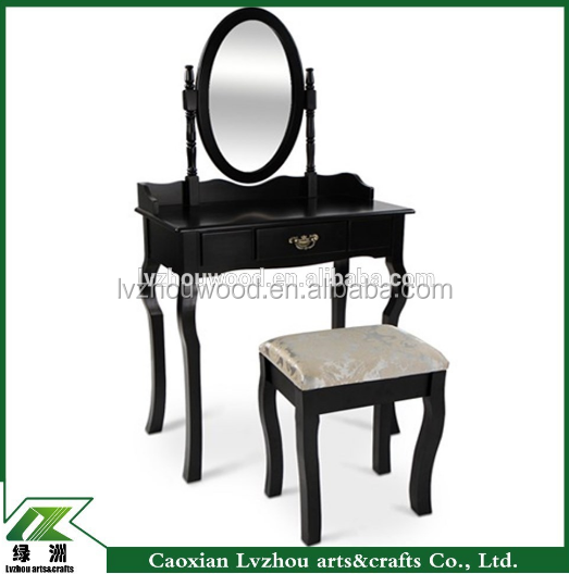 Black antique wood mirror dresser with stool for bedroom