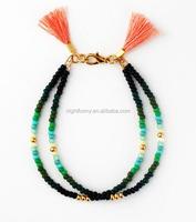 Beaded Friendship Bracelet,Double Strand Seed Bead Bracelet with Tassels, Ombre Seed beads bracelet