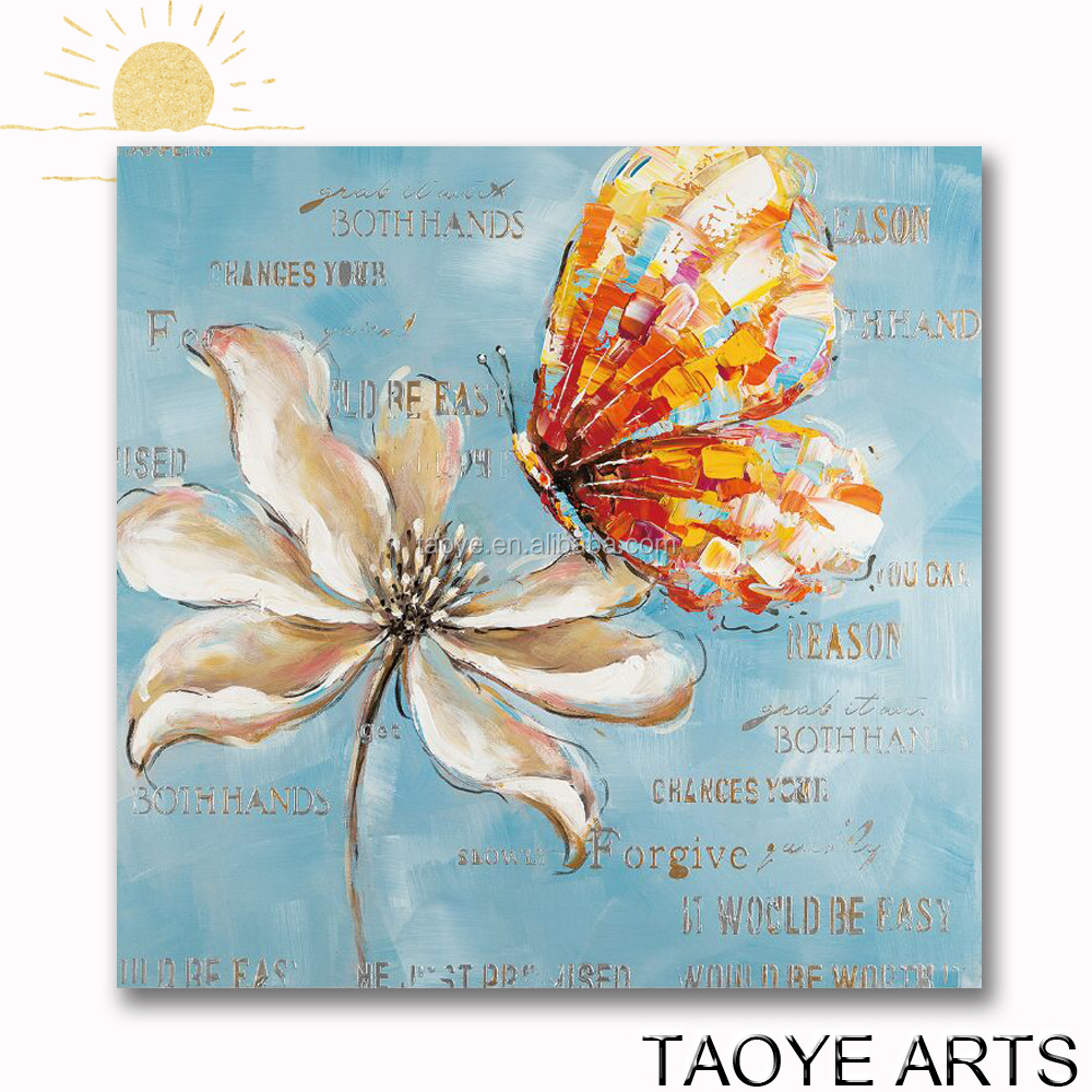 Romantic handpainted butterfly flowers canvas oil painting