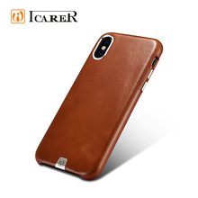 ICARER 2017 New Design Custom Genuine Leather Mobile Phone Back Cover Case for iPhone X