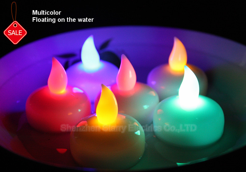 Multicolor battery operated waterproof electric led floating candles