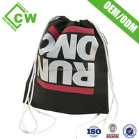 Custom Packing Drawstring Bag Shoes Bags Black Cotton Hot Selling Export Product