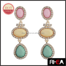 Latest Elegant assorted colors statement earrings 2014 fashion jewellery