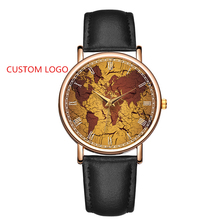 Custom Logo Watches No Brand Cheap Price OEM Watch World Map Printed Custom Watch Dial Roman Numerals