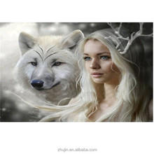 Russian diamond painting sexy beauty girl and animal picture wallpaper