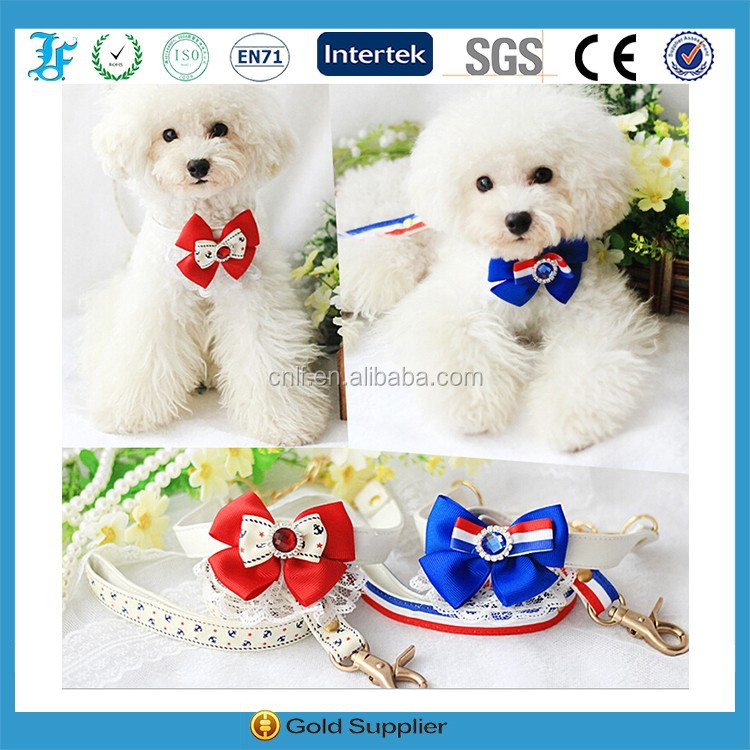 dogs accessories in china lace pet bow tie collar and leash