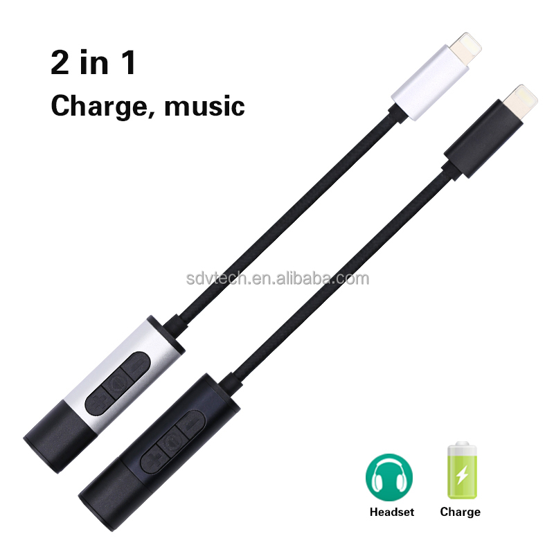 Earphone Converter Multifunction Cable Adapter 2 in 1 with Port of Charging Port of Headphone for iphone 7