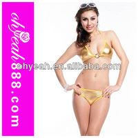 Sex wholesale swimsuits Fashion women golden color sexy pvc bikini hot swimsuits adult bikini