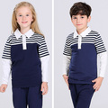 long sleeve white and navy primary custom-made school uniform manufacturers
