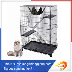 "Black 48"" 2 Door Pet Cage Folding Dog Cat Crate Cage Kennel"