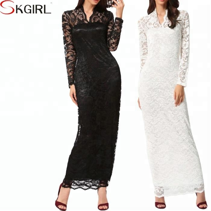 Ladies' Sexy V-Neck Slim Scallop Neck Long Sleeve Lace Wedding Evening Women Maxi Dress