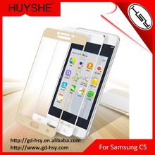 Samsung C5 Mobile Phone Accessories/Full Cover 2.5D Arc Edge Color Tempered Glass Screen Protector for Samsung Galaxy C5000