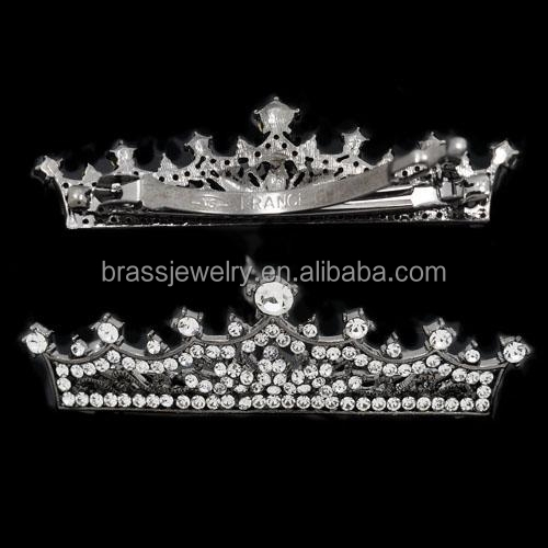 Wholesale Fashion Handmade Brass Jewelry Fancy Bulk Bridal CZ Crown Hair Clips