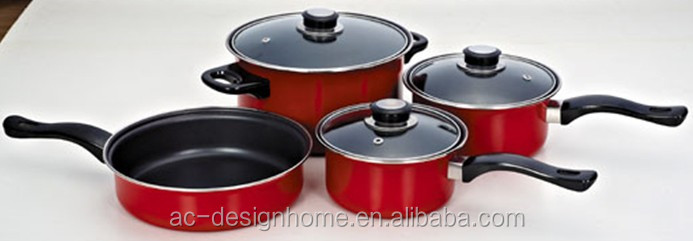 RED 7 PCS 0.5MM NON-STICK CARTON STEEL COOKWARE SET
