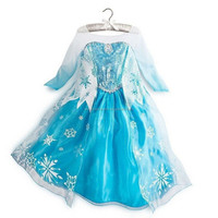 2016 new fashion girls birthday party dress frozen princess elsa snow fever dress for 7yrs old girls