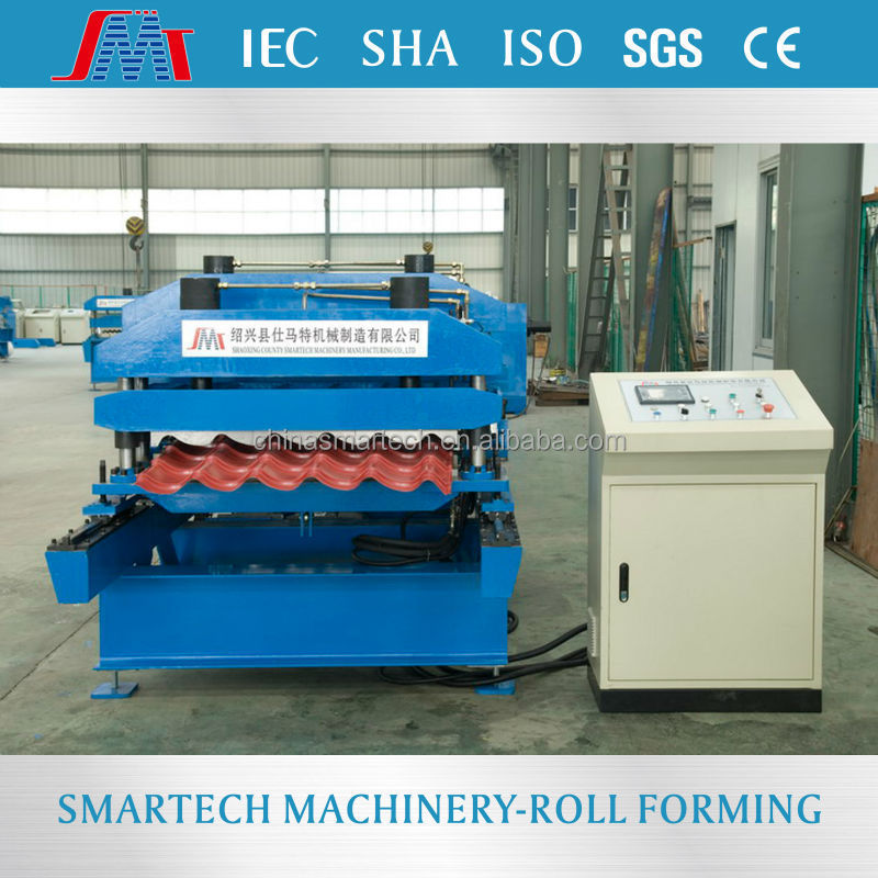 YLE200 Euro profile color steel interlocking step roof tile roll forming machine