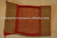 jute bag with window,Jute Bag with red mesh