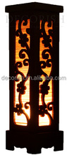 Oriental 10-Inch Bamboo Carved Wood Electric Lantern Lights Table Lamp Cherry Blossom Small