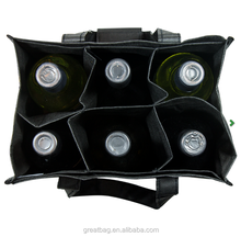 recyclable non woven 6 bottle wine tote bag