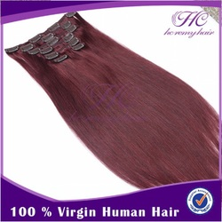china online shopping double weft 7A remy crazy colored red human clip ins human hair extension for women