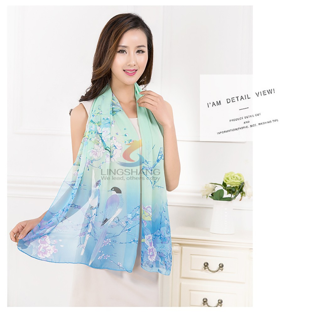 Fashion new arrival spring and summer silk magic chiffon printed scarf and shawl wholesale scarf hijab, wearing hijab
