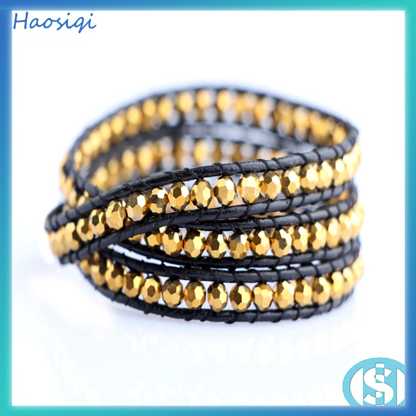 Alibaba wholesale fashion 2016 Haosiqi gold crystal bead bracelet