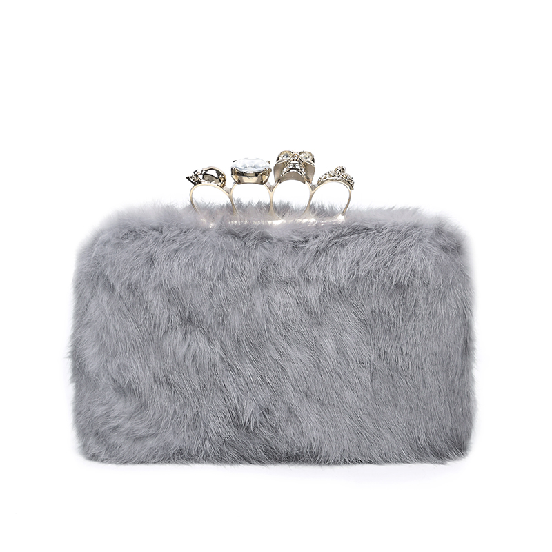 alibaba china cheap lady bag long chain Rabbit hair evening bags ladies clutch bag