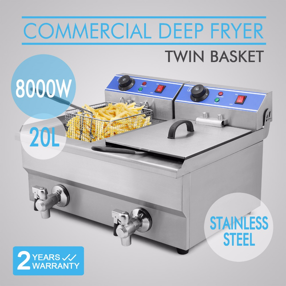 20L 2x4KW Electric Deep Fryer commercial potato chicp chicken pressure fryer Basket French Fry Restaurant electric fryer