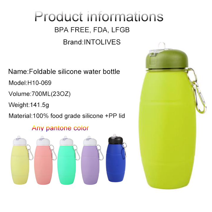 Empty Collapsible silicone bpa free sports water bottle manufacturer