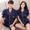 Summer Casual Men Women Pajamas Sets Couple Cotton Sleepwear Lover's Home Sleep Wear Dark blue Lounge