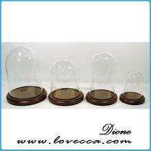 Display Dome - One Inch Scale,Vintage Glass dome on the wooden stand with shell flowers inside