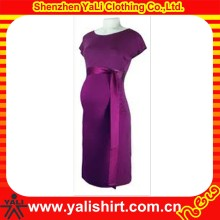 Newest designer comfortable solid color o-neck cap sleeve spandex elegant model western maternity dresses