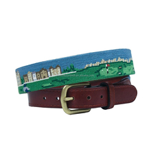Old Course Scene Golf Ball Marker Cowhide Belt in Multi
